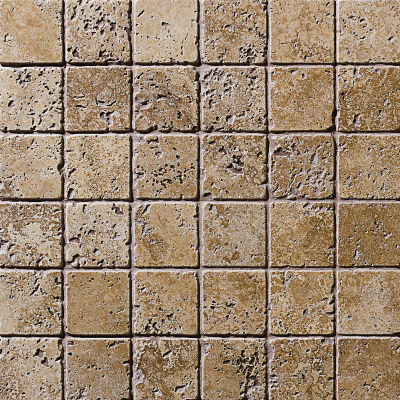 Walnut Dark Tumbled 30,5x30,5 5x5 Traverten Mozaik