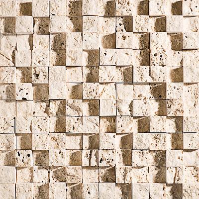 Ivory Rock Face 32x32 1x1 Traverten Mozaik