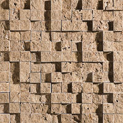 Walnut Dark Rock Face 32x32 1x1 Traverten Mozaik