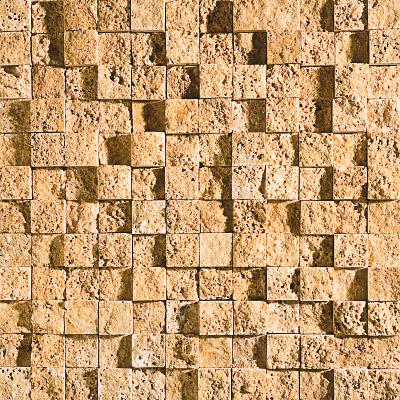 Golden Sienna Rock Face 32x32 25x25 Traverten Mozaik