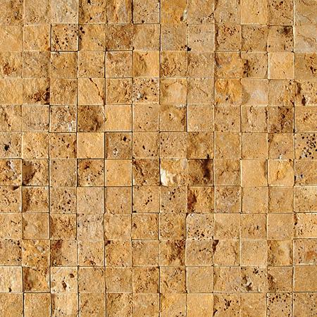 Golden Sienna Rock Face 32x32 1x1 Traverten Mozaik