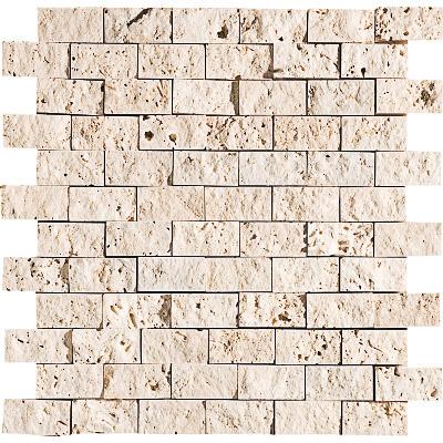 Ivory Rock Face 32x32 1x2 Traverten Mozaik
