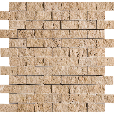 Walnut Dark Rock Face 32x32 2,5x5 Traverten Mozaik