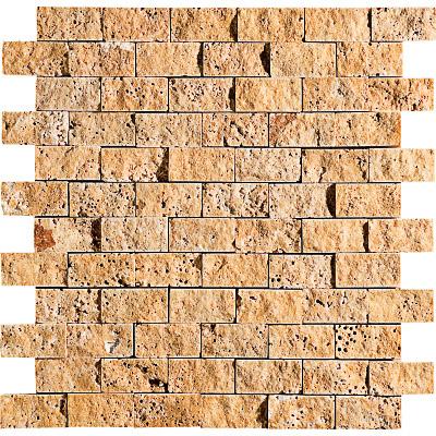Golden Sienna Rock Face 30x31 2,5x5 Traverten Mozaik