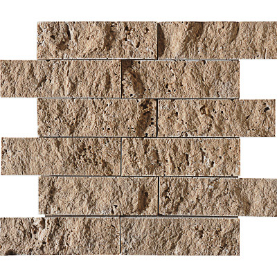 Walnut Dark Rock Face 30,5x30,5 5x15,2 Traverten Mozaik