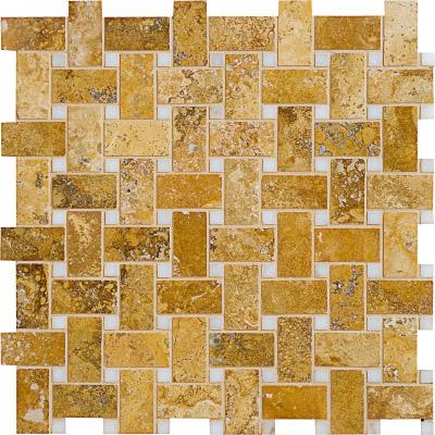 Golden Sienna Honed&filled 31x31 Basket Weave Traverten Mozaik
