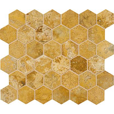 Golden Sienna Honed&filled 26,5x31 Hexagon Traverten Mozaik