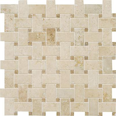 Ivory Honed&filled 31x31 Basket Weave Traverten Mozaik