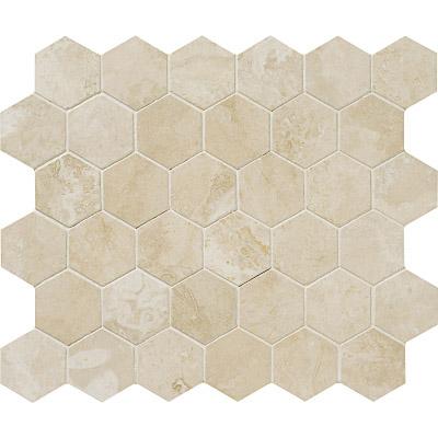 Ivory Honed&filled 26,5x31 Hexagon Traverten Mozaik