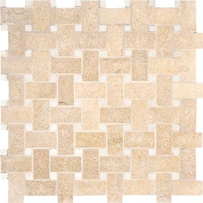 Seashell Honed 31x31 Basket Weave Limestone Mozaik