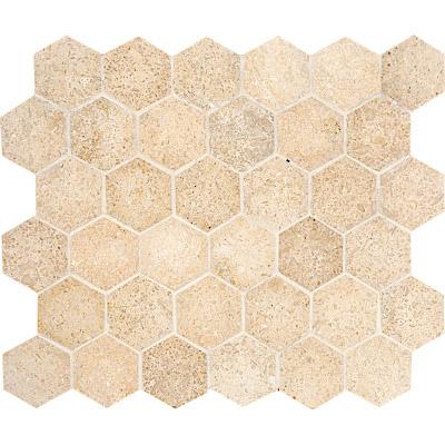 Seashell Honed 26,5x31 Hexagon Limestone Mozaik