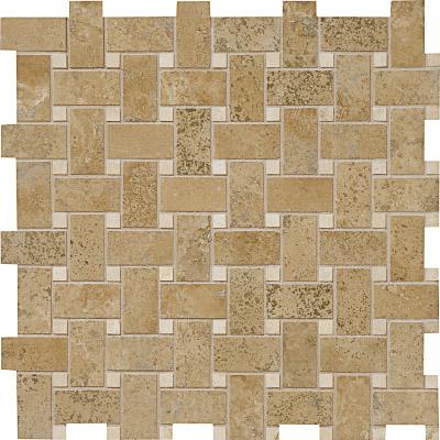 Walnut Dark Honed&filled 31x31 Basket Weave Traverten Mozaik