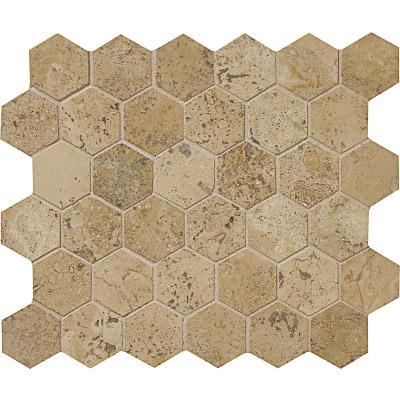 Walnut Dark Honed&filled 26,5x31 Hexagon Traverten Mozaik
