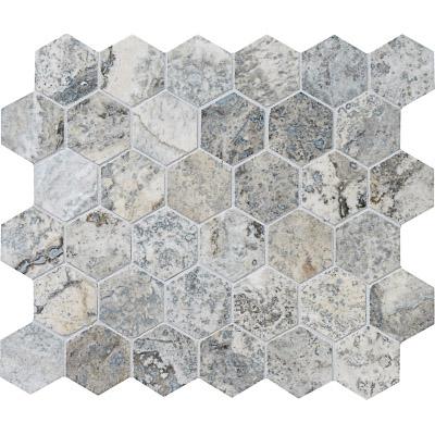Silverado Honed&filled 26,5x31 Hexagon Traverten Mozaik