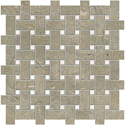 Olive Green Honed 31x31 Basket Weave Limestone Mozaik