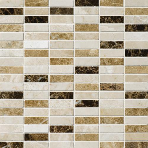 Milano Dark Blend Polished 30,5x30,5 1,5x5 Mermer Mozaik