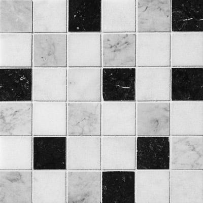 Black White Grey Polished 30,5x30,5 2x2 Mermer Mozaik