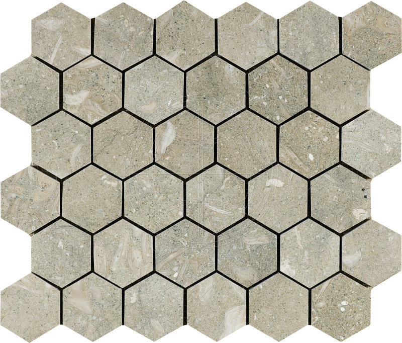 Olive Green Honed 26,5x31 Hexagon Limestone Mozaik