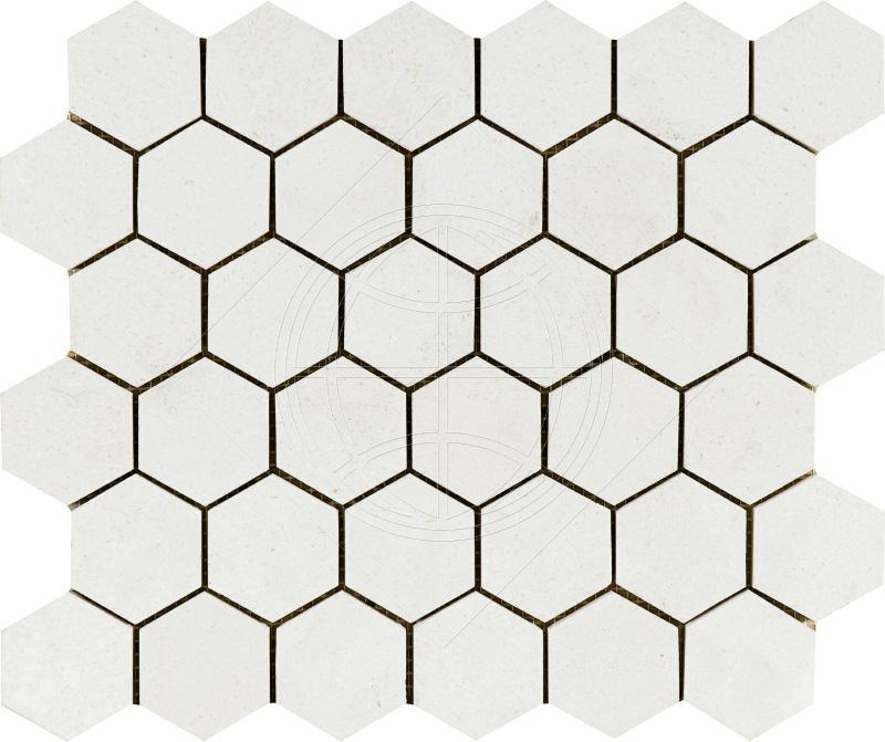 Champagne Honed 26,5x31 Hexagon Limestone Mozaik