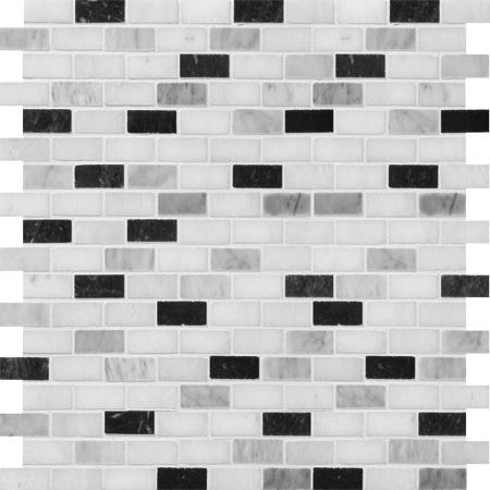 Black White Grey Polished 30,5x30,5 1,5x3 Mermer Mozaik