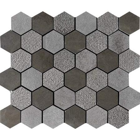 Gray Foussana Textured 26,5x31 Hexagon Limestone Mozaik