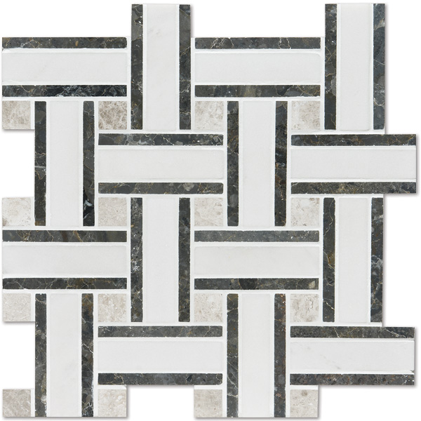 Aspen White Honed 30,5x30,5 Lattice Mermer Mozaik