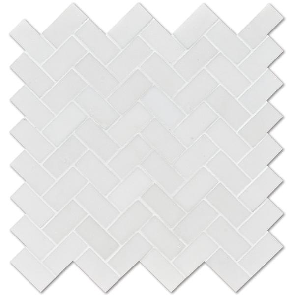 Aspen White Honed 30,5x33,5 Herringbone Mermer Mozaik