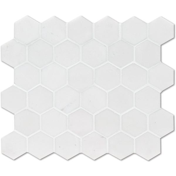 Aspen White Honed 26,5x31 Hexagon Mermer Mozaik