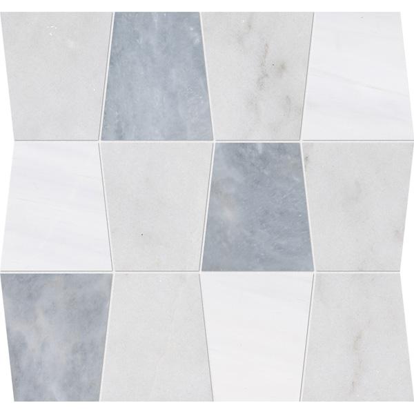 Glacier, Afyon Gray, Snow White Honed 31,5x30,5 Tapered Mermer Mozaik