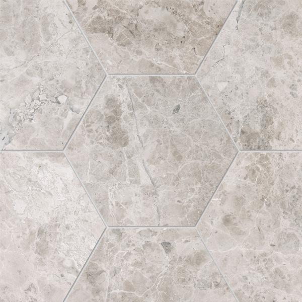 Silver Shadow Honed 14,5x12,5 Hexagon Mermer Fayans