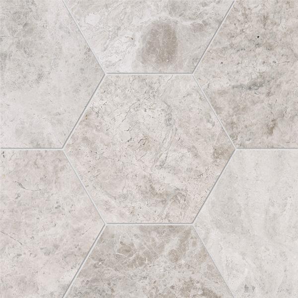 Silver Clouds Polished 14,5x12,5 Hexagon Mermer Fayans