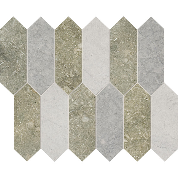 Olive Green, Thala Gray Dark, Thala Gray Honed 33,5x28 Medium Picket Mermer Mozaik