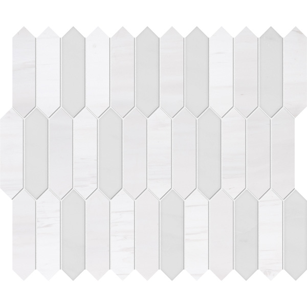 Snow White, Afyon White Honed&polished 33,5x28 Baby Picket Mermer Mozaik