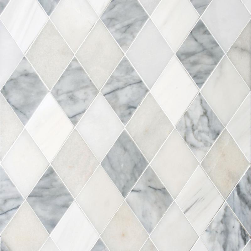 Afyon White, Avenza Light, Dolomite, Gla Multi Finish 23,65x26,6 Almas Mermer Mozaik