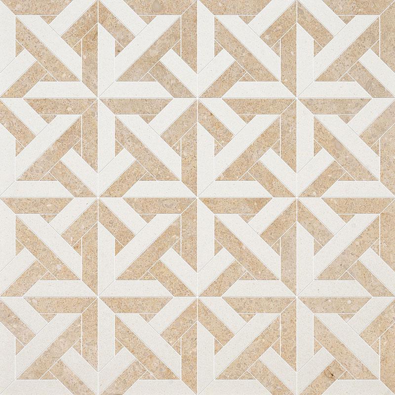 Champagne, Seashell Multi Finish 24,6x24,6 Marmara Limestone Mozaik